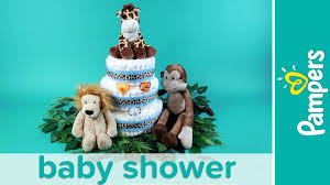jungle theme baby shower ideas stuffed animals diaper cake