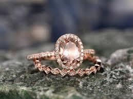 gold wedding set 1 3 carat oval morganite gold wedding set diamond engagement
