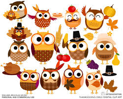 thanksgiving owls digital clip for personal and commercial