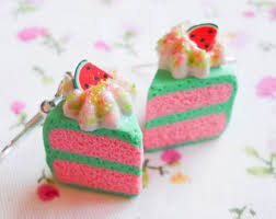food earrings velvet cake slice earrings kawaii velvet earrings