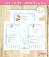 instant download sock blue monkey theme baby shower game package