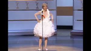 swan dress degeneres emulating björk s swan dress at the emmys