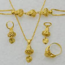 necklace earrings chain images Gold ring and chain anniyo heart jewelry set necklace pendant jpg