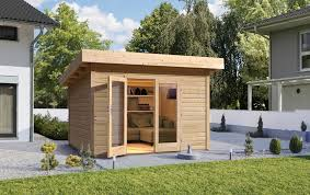 gartenhaus design flachdach gartenhaus wolff pori 28 mit großer doppeltür flachdach holzhaus