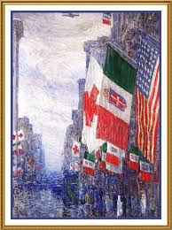 Flag Of New York City Flags On Italian Day New York City By American Impressionist