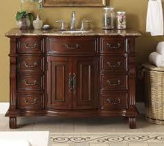 Antique Style Bathroom Vanities by Adelina 50 Inch Antique Bathroom Vanity Brown Finish Brown Marble