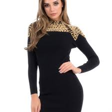 sleeved black dress forever unique ginny black and gold sleeved bodycon dress