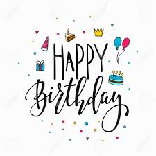 happy birthday simple design happy birthday party lettering sign quote typography calligraphy
