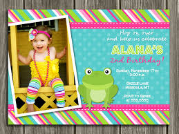 printable kids frog birthday photo invitation free thank you card