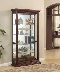decorating espresso wood curio cabinet with glass shelves for