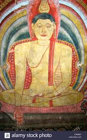 buddha art wall painting colorful stock photos buddha art wall painting of seated buddha dambulla caves cultural triangle sri lanka stock image