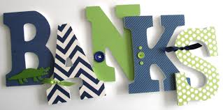 custom made navy blue and green wooden letters baby room decor