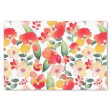 floral tissue paper pretty orange girly pink watercolor floral pattern 10 x 15 tissue