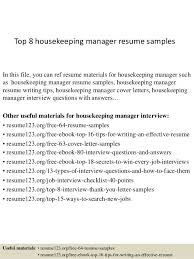 Housekeeper Resume Example by Resume Sample Of Housekeeping Supervisor Templates