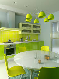 Soothing Color Schemes Interior Playful Green Themed Kitchen With Glossy Green
