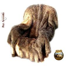 Faux Fox Fur Throw Timber Wolf Coyote Fur Throw Blanket Comforter Bedspread