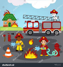 vector illustration firefighters trying put out stock vector