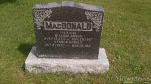 grave site of vernon donald macdonald 1920 1921 billiongraves