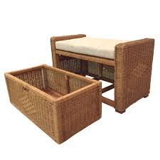 chest storage ottoman eva color light brown with cushion handmade