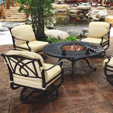patio patio furniture with fire pit table echanting brown round