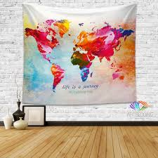 World Map Wall Poster by World Map Quote Wall Tapestry World Map Watercolor Inspirational