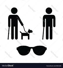 Blind Man Cane Blind Man Icons Set With Guide Dog Cane Vector Image