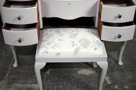 vintage french style walnut dressing table with stool painted
