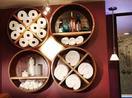 innovative round dark brown wood towel storage unique bathroom
