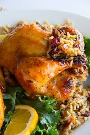 cornish hen with clementine glaze and cranberry almond quinoa