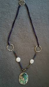 leather necklace with beads images Purple leather necklace with beads fresh water coin pearls and jpg
