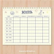 clean paper style timetable template vector free download