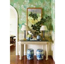 Ashley Whittaker Hand Painted Chinoiserie Papered Foyers In Green U2014 The Foo Dog Blog