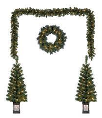 lighted christmas tree garland outdoor lighted christmas yard decorations pre lit tree garland