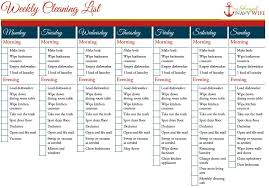 printable evening schedule weekly and monthly cleaning schedule printable