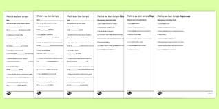 french mettre au bon temps worksheets french changing tense
