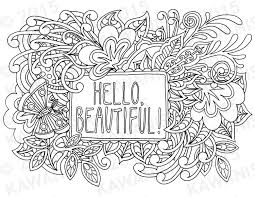 hello beautiful coloring page gift wall art by kawanish k