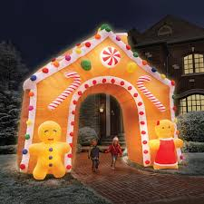 Blow Up Christmas Decorations Sale by The 15 Foot Illuminated Gingerbread House Hammacher Schlemmer
