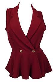 plus size spread collar sleeveless vest burgundy evogues apparel