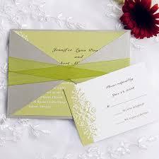 Affordable Pocket Wedding Invitations Moon Green Wedding Invitation With Ribbon And Gray Pocket Ewpi103