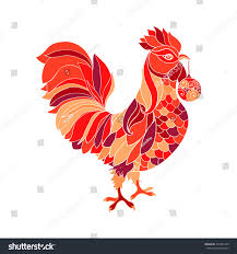 rooster colorful fill silhouette stock illustration