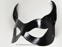 black catwoman leather mask with little cat ears batgirl