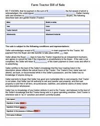 printable sample tractor bill of sale form laywers template