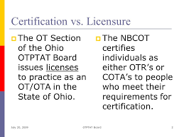 Nbcot Certification Letter The Role Of The Ohio Occupational Therapy Physical Therapy And