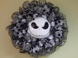 Halloween Mesh Wreaths by Halloween Wreath Jack Skellington Nightmare Before Christmas