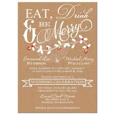 Affordable Wedding Invitations With Response Cards Winter Wedding Reception Invitation Eat Drink U0026 Be Merry Faux