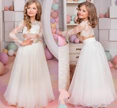 2017 lovely kids pageant dresses sheer lace applique jewel