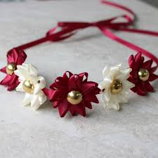 burgundy headband ribbon flower headband choose your colors burgundy headband