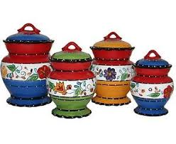 kitchen canister set kitchen canister set multi color 4pc stoneware storage containers