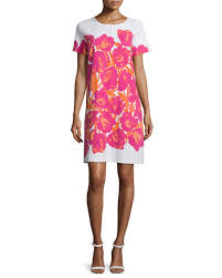 joan vass short sleeve floral print pique dress
