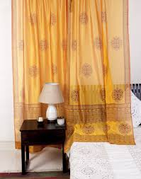 buy fabindia yellow silk cotton printed saumya curtain online